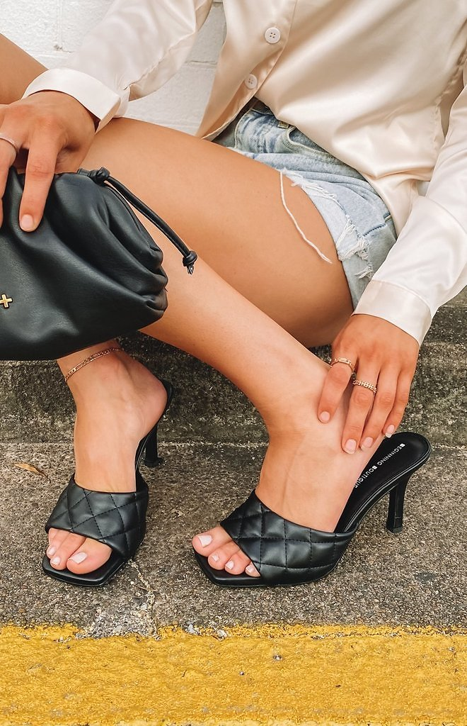 Fifth Avenue Quilted Heels Black