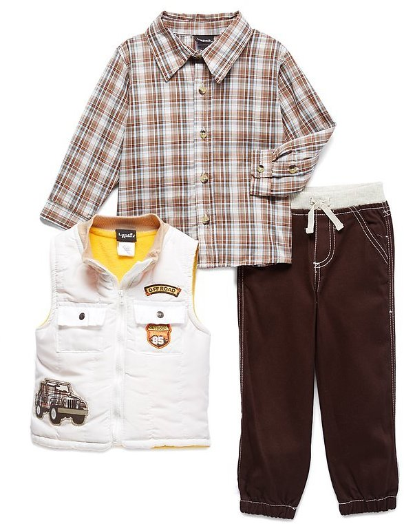 Off-White Plaid 'Adventure' Button-Up Top Set - Toddler