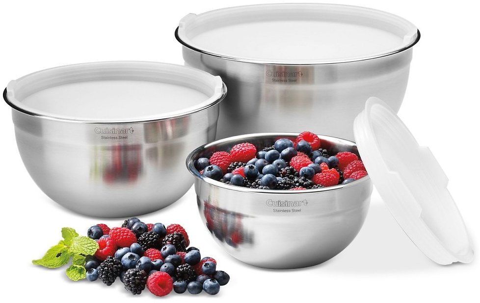 3-Pc Cuisinart Stainless Steel Mixing Bowls