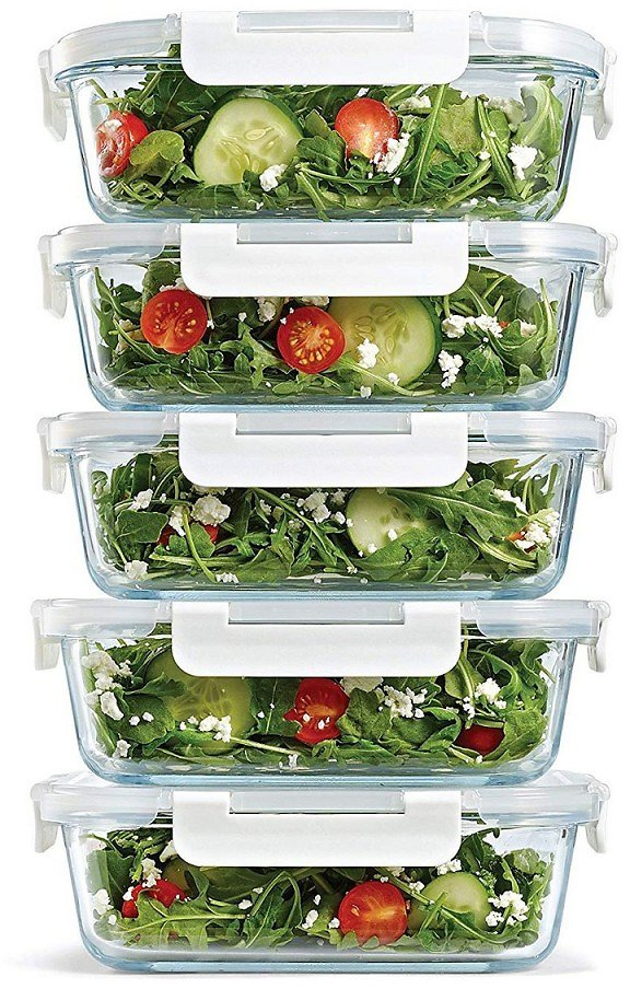 Fit & Fresh Set of 5 Glass Containers, 35.17 Oz