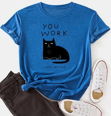 Cat Print Short Sleeve O-neck Loose Casual T-Shirt For Women