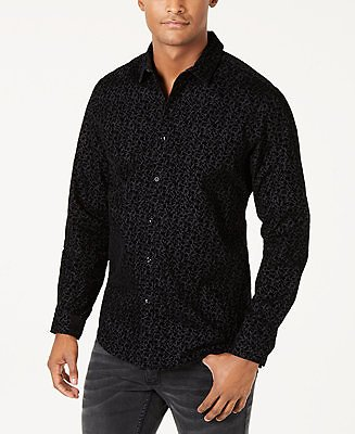 INC International Concepts INC Men's Flocked Floral Shirt, Created for Macy's & Reviews - Casual Button-Down Shirts - Men