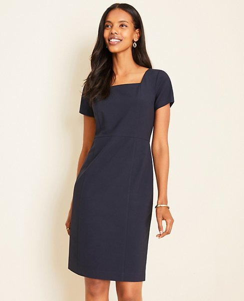 The Tall Square Neck Sheath Dress in Seasonless Stretch | Ann Taylor