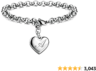 Monily Initial Charm Bracelets Stainless Steel Heart 26 Letters Alphabet Initial Bracelet for Women Jewelry Valentine's Day Gift