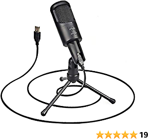 USB Microphone Computer Condenser PC Gaming Mic with Tripod Stand and Built-in Windproof Sponge for Streaming, Vocal Recording, YouTube, Skype, Twitch, Plug & Play