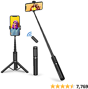 ATUMTEK Bluetooth Selfie Stick Tripod, Mini Extendable 3 in 1 Aluminum Selfie Stick with Wireless Remote and Tripod Stand 270 Rotation for IPhone 12/11 Pro/XS Max/XS/XR/X/8/7, Samsung and Smartphone