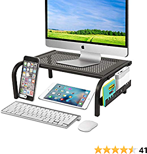 Mesh Monitor Stand Riser - Desk Organizer Laptop Computer Printer Stand with Multi-Functional Slot for Cellphone IPAD Holder Cable Management