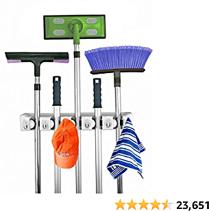 Home- It Mop and Broom Holder, 5 Position with ,,,,