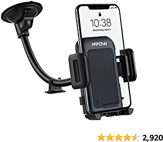Car Phone Mount, Mpow Long Arm Windshield Phone Holder, Washable Suction Cup Car Mount Compatible with IPhone 12 11 Pro Max, XS Max, XS, XR/X/8/7/6 Plus Etc