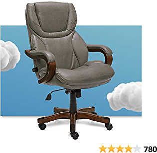 Serta Big and Tall Executive Office Chair with Wood Accents Adjustable High Back Ergonomic Lumbar Support, Bonded Leather, Gray