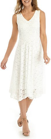Ronni Nicole Women's Circle Knit Eyelet V-Neck Fit and Flare Dress