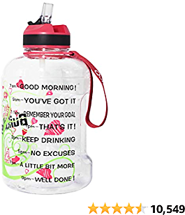 QuiFit Motivational Gallon Water Bottle - with Straw & Time Marker|| 2020