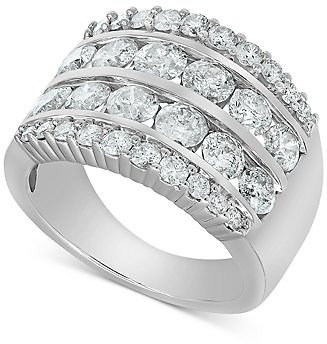 Macy's Diamond Multi-Row Band (3 Ct. T.w.) in 14k White Gold & Reviews - Rings - Jewelry & Watches