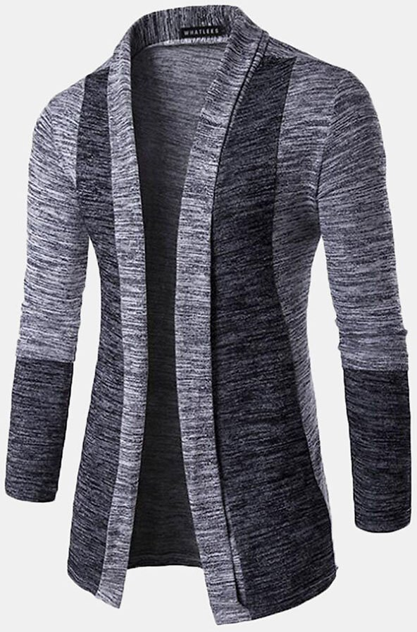 Mens Casual Open Stitching Hit Color Slim Mid-Long Knit Cardigan