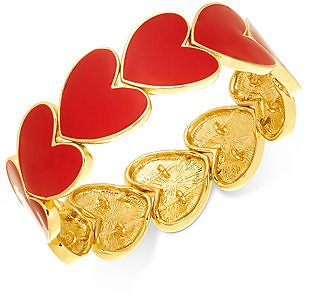 Gold-Tone Red Heart Stretch Bracelet, Created for Macy's