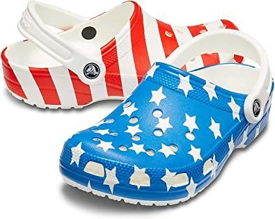 Amazon.com | Crocs Women's Classic American Flag Clog | Mules & Clogs