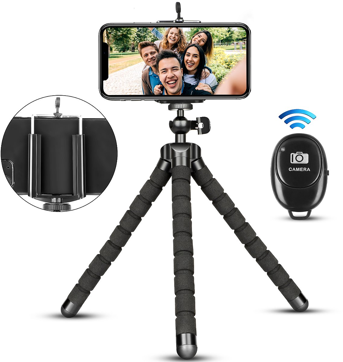(Only $8.99) Flexible Phone Tripod with Wireless Remote for iPhone 12 11 Pro Xs MAX XR X SE 8 7 6S Plus Android