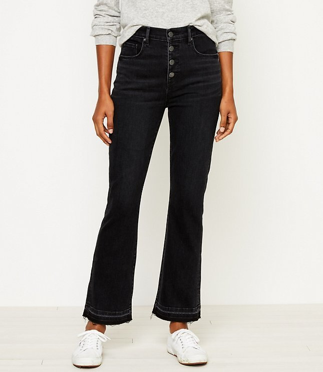 High Rise Flare Crop Jeans in Washed Black Wash | LOFT
