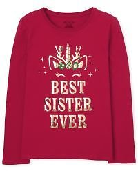 Girls Long Sleeve Holiday Unicorn 'Best Sister Ever' Graphic Tee