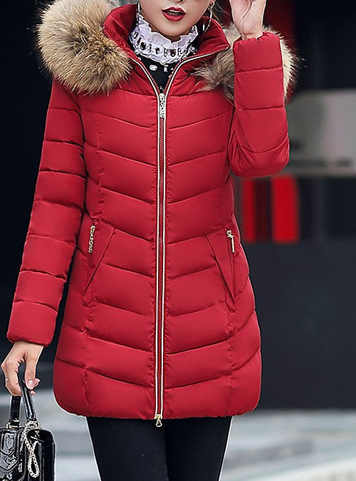 Women's Padded Parka Plus Size Solid Colored Long Polyester Black / Red / Wine M / L / XL #7702307