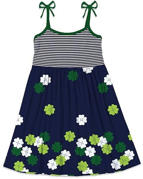 Navy & Green Stripe & Four-Leaf Clover Tie-Strap Sleeveless Dress - Girls