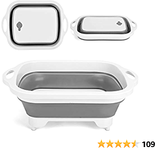Shangyoyi Collapsible Cutting Board with Colander- Premium 3 in 1 Multifunction Veggies Washing Basket Kitchen Plastic Silicone Dish Tub, Foldable Slicing&chopping Board for Camping/BBQ/Prep, Gray