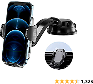 RTAKO Universal Car Phone Mount Car Phone Holder for Car Dashboard Windshield Air Vent Curved Arm Strong Suction 3in1 Cell Phone Car Mount Fit with IPhone 12 11 Pro X XS Max XR Galaxy S20 All Phones