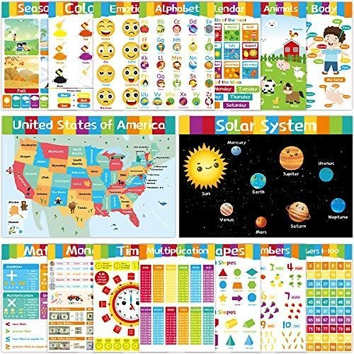 16 Educational Posters Laminated Poster for Kids