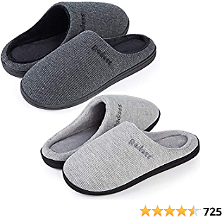 2 Pairs Women's Warm Soft Cozy Fleece Lining House Slippers Two-Tone Memory Foam Slippers Winter Bedroom Shoes Indoor Outdoor with Non-Slip Rubber Sole