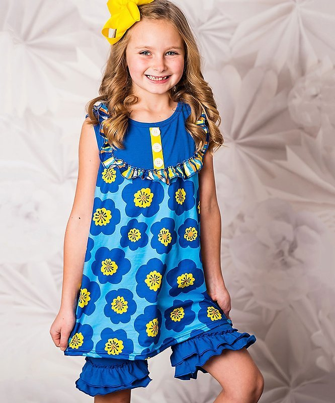 Yellow Floral Sleeveless Button-Front Top & Blue Ruffle Shorts - Toddler & Girls