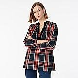 Velvet-trimmed V-neck Tunic in Black Stewart Tartan