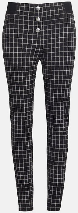 Petite Plaid Button Leggings | LOFT
