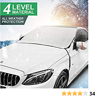 Windshield Snow Cover,Ice Snow Frost Dust Cover for Windscreen,Car Sunshades with Magnetic Edges,Thick 4 Layers Guard Covers to Protect Window, Anti-Snow,Anti-Ice,Anti-Fog,Fits for SUV, Vans and Truck