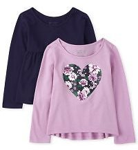 Toddler Girls Long Sleeve Heart Graphic And Solid Top 2-Pack