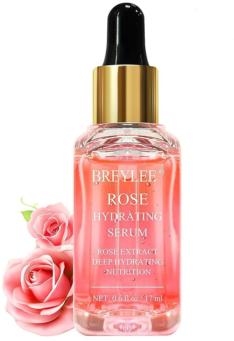 Rose Face Serum, BREYLEE Hydrating Serum Moisturizing Serum Face Serum Hydrating with Hyaluronic Acid Alcohol Free Facial Serum for Skin Care(17ml,0.6fl Oz)