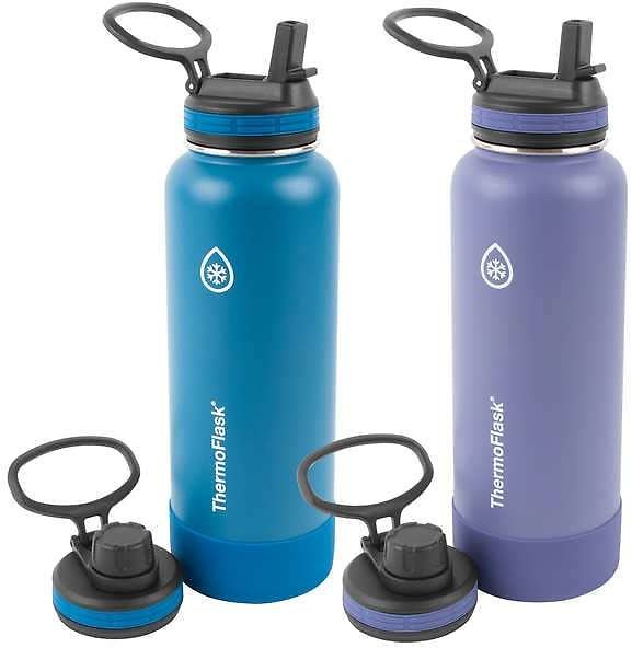 ThermoFlask 40oz Insulated Stainless Steel Water Bottle, 2-pack