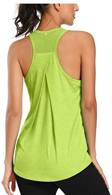 Workout Tank Tops for Women Racerback Sports Shirts Mesh Backless Tops Running Tank Gym Exercise Athletic Yoga Tops