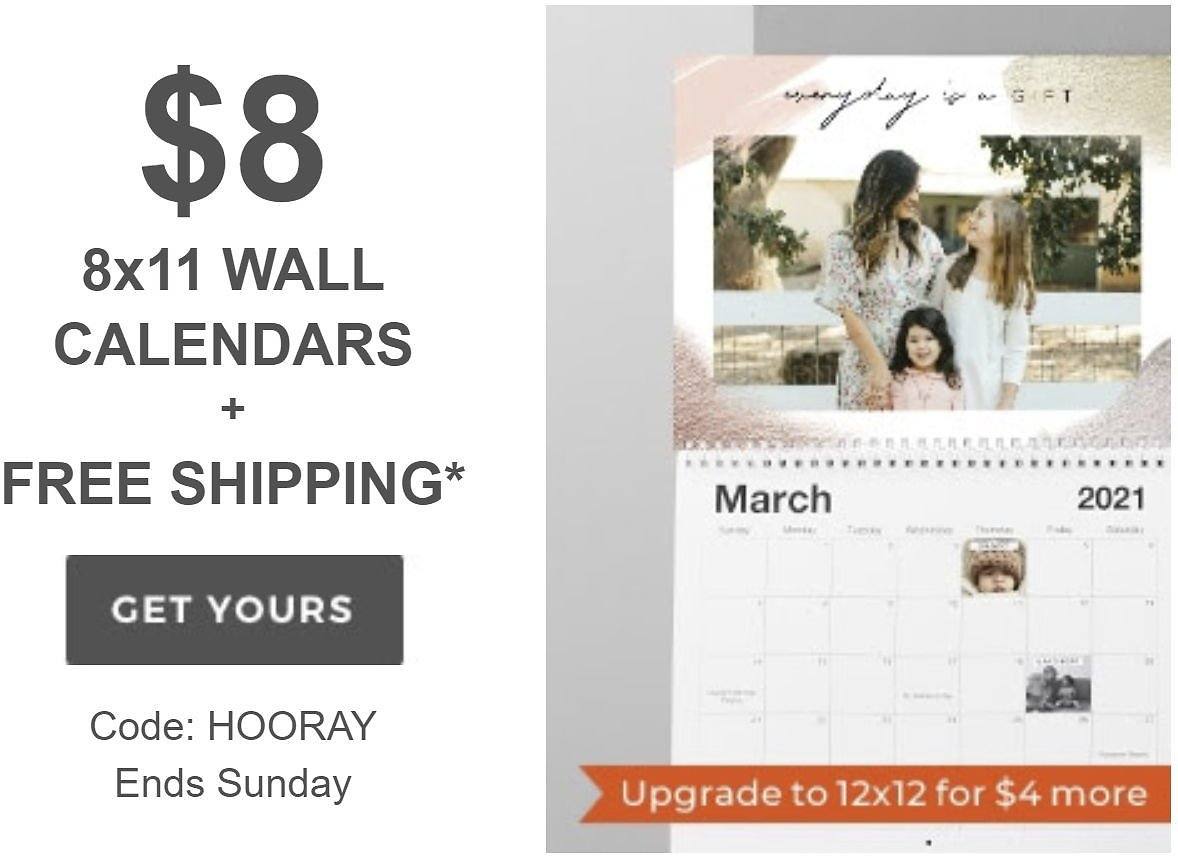 $8 Shutterfly 8x11 Photo Wall Calendars + RARE Free Shipping
