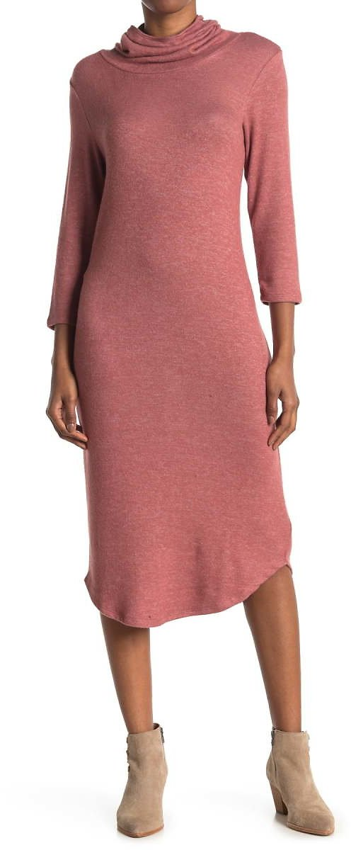 Bobeau | Cowl Neck Built-In Face Mask Midi Dress | Nordstrom Rack (available in 4 Colors)