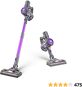 GeeMo E4 Cordless Vacuum Cleaner, 20 Kpa Powerful Suction 4 in 1 Stick Vacuum Cleaner, Removable Battery, Anti-Static Design Ideal for Hardwood Floor Carpet Tile Pet Car (Purple)
