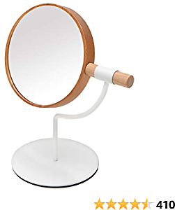 YEAKE Desk Table Mirror with Mental Stand, 3X Magnification Small Wooden Desktop Mirror,360° Rotation Countertop Mirror for Makeup(White)