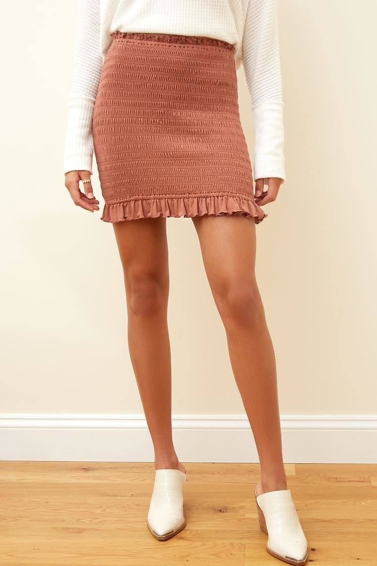 Mocha Smocked Bodycon Mini Skirt