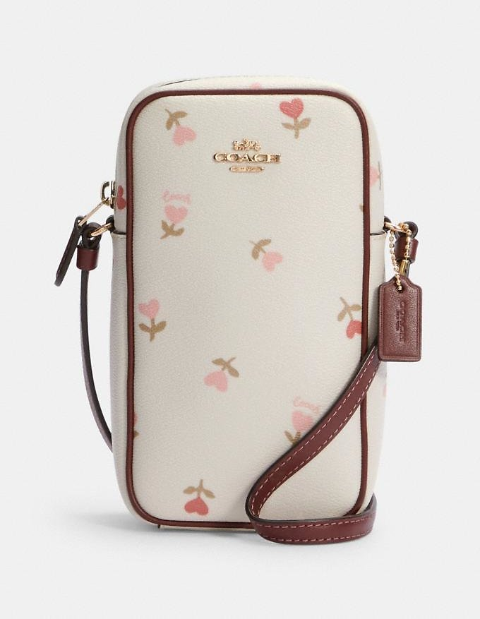 North/south Zip Crossbody with Heart Floral Print