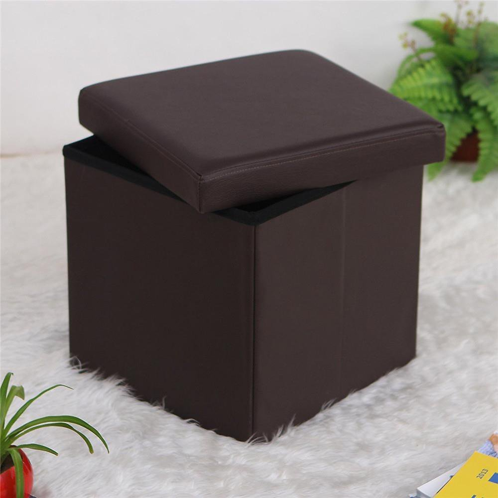 Ktaxon Folding Cube Footrest Leather Ottoman Footstool Storage Stool Box Seat