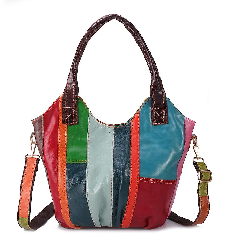 Women Oil Wax Genuine Leather Hobos Handbags Large Capacity Patchwork Bohemian Crossbody Bags