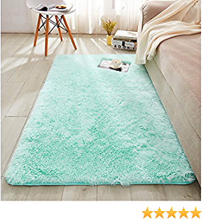 WERDIM Shaggy Plush Faux Fur Area Rugs Fluffy Indoor Carpets for Bedroom Living Room Home Decor Non Slip Dots Bottom Aqua, 3x5 Feet