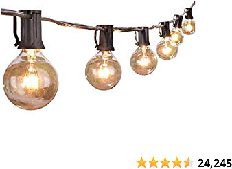 Outdoor String Light 50Feet G40 Globe Patio Lights with 52 Edison Glass Bulbs(2 Spare), Waterproof Connectable Hanging Light for Backyard Porch Balcony Deck Party Decor, E12 Socket Base, Black