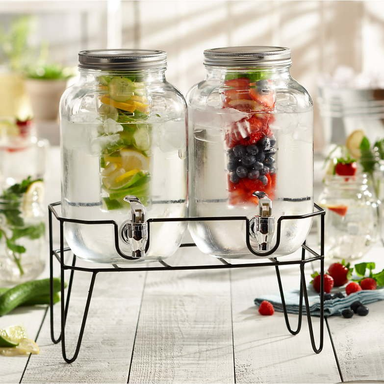 American Atelier Stylesetter Clifford Double Fruit Infuser Beverage Cold Drink Dispensers with Stand
