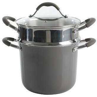 Cravings By Chrissy Teigen 6qt Aluminum Stock Pot with Stainless Steel Steamer Insert (Shadow)