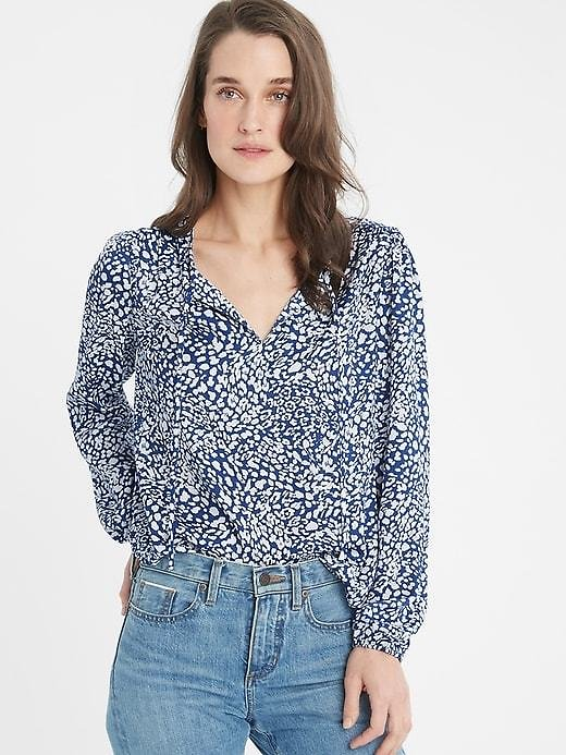 Shirred Tie-Front Blouse